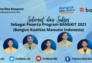 Thumbnail for the post titled: DARI 3000 MAHASISWA SE-INDONESIA, 7 MAHASISWA PROGRAM STUDI INFORMATIKA FAKULTAS ILMU KOMPUTER UNIVERSITAS BHAYANGKARA JAKARTA RAYA LULUS PROGRAM INDONESIA BANGKIT 2021